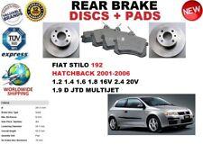 für Fiat Stilo 192 Fließheck 2001-2006 Bremsscheiben SET HINTEN+BREMSBELÄGE SATZ