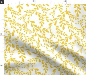 Gold Leaf White Branches Yellow Nature Spoonflower Fabric by the Yard