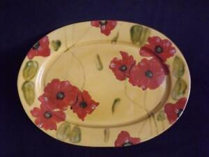 "Fleur Rouge Platter Ambiance Collection Red Poppies Nanette Vacher 18"" x 13"