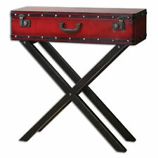 Rustic Red Trunk Storage Console Table | Antiqued Suitcase Sofa Entry Vintage