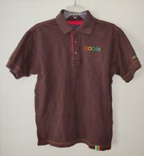 Coogi Mens Brown Polo Shirt with Multi Color Embroidered Sz L