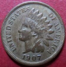 << 1907  INDIAN HEAD PENNY, Almost Uncirculated with Beautiful Details & Tones