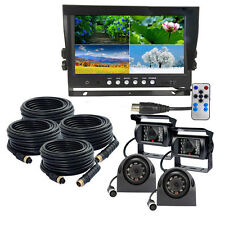 "9"" Quad Monitor Backup Cameras Safety System For Truck Trailer RV"