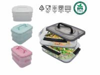 2-Tier Plastic Lunch Box Food Container Meal Carrier Bento Boxes For Boys Girls