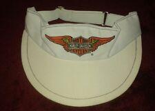 Harley Davidson Motorcycle Biker White Hat Visor Vtg Cap Patch