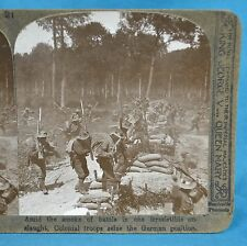 WW1 Stereoview Photo Colonial Troops Sieze German Position Realistic Travels