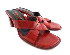 DONALD PLINER Size 7 VONE Red Alligator Print Slide Sandals Shoes