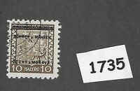 #1735    1939 Overprint stamp / 10 Hal BaM Protectorate / Third Reich occupation