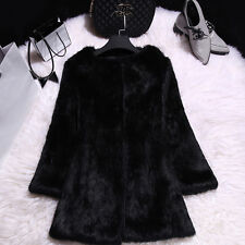 FS161163 New Long Real Rabbit Fur Coat Women Winter Jacket Candy Color Overcoat