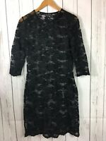 ABS by Allen B Schwartz Dress Black Stretch See Through Lace Size Medium