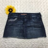 Express Womens Jean Mini Skirt Size 4 100% Cotton Blue Denim Bling gr3319