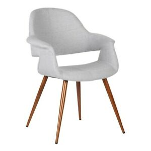 Armen Living Phoebe Dining Chair, Walnut/Gray - LCPHSIWAGRAY