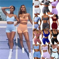 Damen Gym Yoga Tank Top Sports Weste BH Kurze Hose Trainingsanzug Sporthose Set
