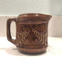 VINTAGE BRUSH MCCOY POTTERY AVENUE OF TREES BROWN GLAZED PITCHER 5""
