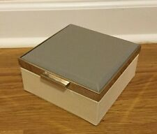 NEW Pottery Barn Pixley Leather SMALL Two Toned Jewelry Box GRAY IVORY