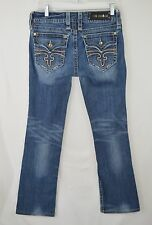 Women's ROCK REVIVAL 'Celine' Distressed Bootcut Jeans w Flap Pockets Size 30x32