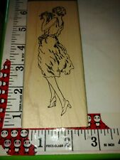 Victorian style lady in a dress, just for fun,97,rubber,stamp, wooden