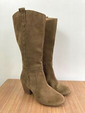 Clarks Knee High Western Boots. Suede. UK 8. D Width. Boho. Cuban Stack Heel.