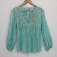 Calypso Sea Green Silk Embroidered Blouse Top Size XS Hippie Boho