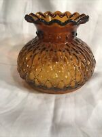 "VINTAGE AMBER HOBNAIL RUFFLED TOP GLASS HURRICANE LAMP GLOBE SHADE, 7"" Fitter"