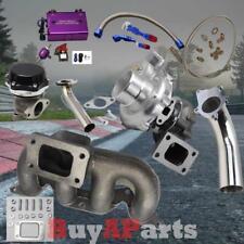 T3/T4 Turbo+Manifold+Black Wastegate+Purple Boost Controller Kit Civic 01-05 D17