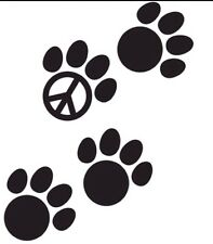 Dog Paw Prints Peace Sign Decal Car Sticker - Dog Breed Car Truck Laptop Mac