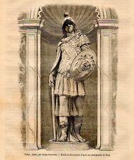Stampa antica ATENA PALLADE Statua di Jacopo Sansovino Venezia 1871 Old Print