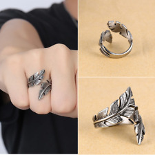 Fashion Charm Men Woman Antique Silver Stainless Steel Feather Ring Band Jewelry
