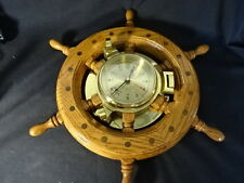 Old Vtg Clock Brass Nautical Wheel Clock Ship Wood Wooden