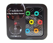 RABBIT Wine Charms ~ Set of 6 Charms Assorted Colors Rabbit Ears ~ New