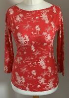 M&S Collection Size 8 Ladies Red Top With White Print Detail