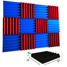 "12 Pack Wedge RED/BULE  Acoustic Soundproofing Studio Foam Tiles 2"" x 12"" x 12"""