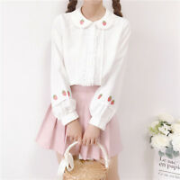 Sweet Lolita Strawberry Embroidery Top Doll collar Long Sleeve Blouse Cute Shirt