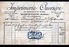 """MONTLUCON (03) FOURNITURES BUREAUTIQUE """"IMPRIMERIE OUVRIERE"""" en 1928"""