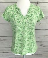 Mountain Lake Top Womens Small S Green Floral V-Neck Short Sleeve Fitted Cotton