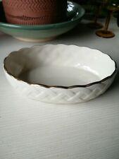 Lenox Fine China Classic Basket Weave Oval Vegetable Bowl, Cream Color, 24k Gold