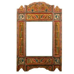 hand painted, hanging mirror, wall art, farmhouse decor of wood, Orange rustic