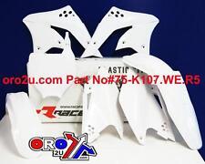 KAWASAKI KXF250 PLASTIC KIT WHITE 2006 - 2008 WITH NUMBER BOARD