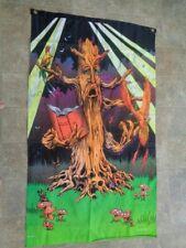 Black Light Banner Flag Fabric Sign Poster 60 X 35 Mushroom Tree Book Wizard