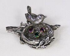 Signed ANSON Vintage Sterling Silver BIRD NEST Pin Brooch Sparkling Eggs  11 g