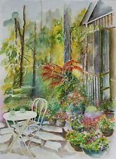 """Suzanne Obrand, Holocaust Survivor, Watercolor Painting """"Backyard in the Keys"""""""