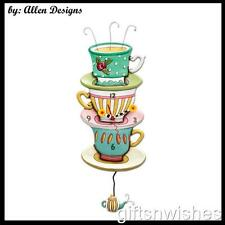 Colourful SPOT OF TEA Teacup Stack Pendulum Allen Designs Wall Clock
