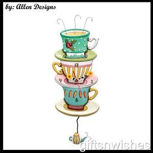 Colourful SPOT OF TEA Teacup Stack Pendulum Allen Designs Wall Clock Gift