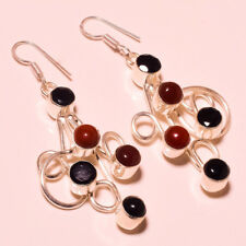 """RED CORAL WITH BLACK ONYX GEMSTONE 925 SILVER PLATED EARRING 2.7"""""""