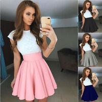 Fashion Women's Stretch High Waist Skater Flared Pleated Party Mini Skirt Dress*