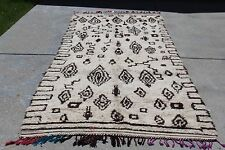 "VINTAGE Moroccan Beni Ourain Large Rug #HZ9 12'7"" x 5'1"" Handwoven 100% Wool"