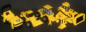 Set Of 4 Caterpillar Plastic 1/64th Scale Bulldozer Backhoe Front End Loader