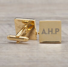 Personalised Engraved Mens Gold Plated Square Cufflinks Set Gift for Him Dad Son