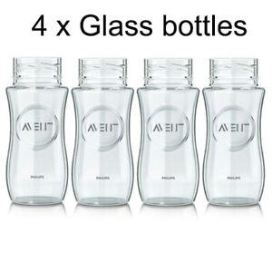 4 X Philips Avent Replacment Glass Feeding Baby Bottles BPA Free 240 ml Blue Sea