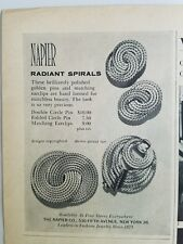 1963 Napier Gold radiant spirals earrings pin brooch jewelry vintage ad